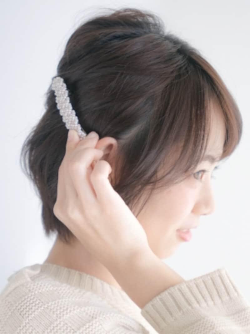 ヘアアクセは耳の後ろの位置に