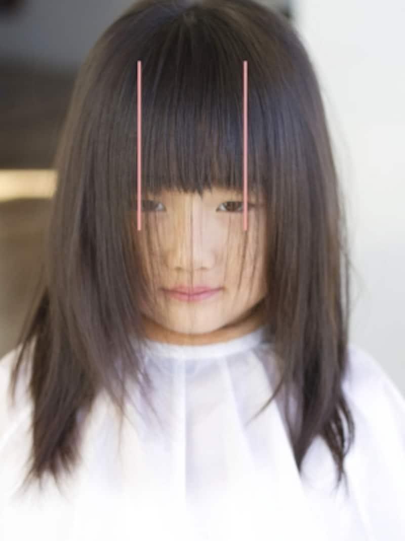 黒目の端から端までの幅で前髪をつくる