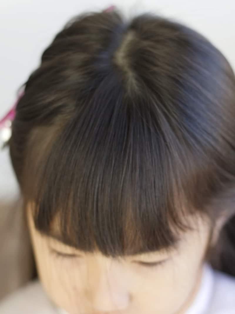 前髪の範囲を上から見ると三角形に