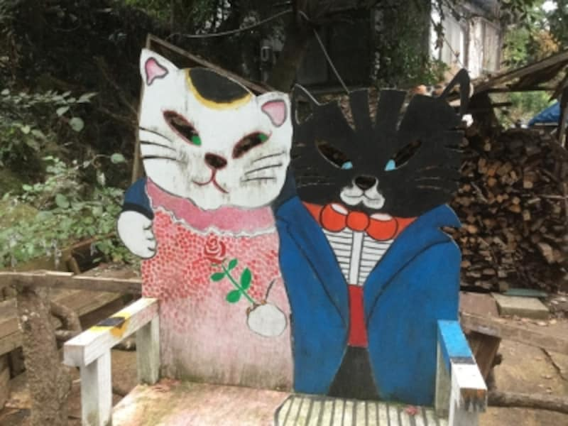 様々なネコたちが出迎えてくれて、まるで童話の世界!