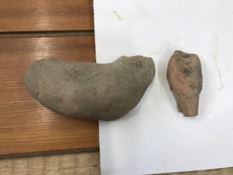 近くの竹林から出土したという、おそらく700年前の型。