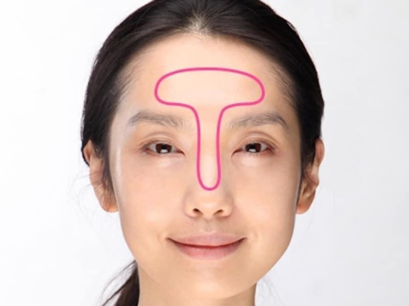 顔の中心となるTゾーン