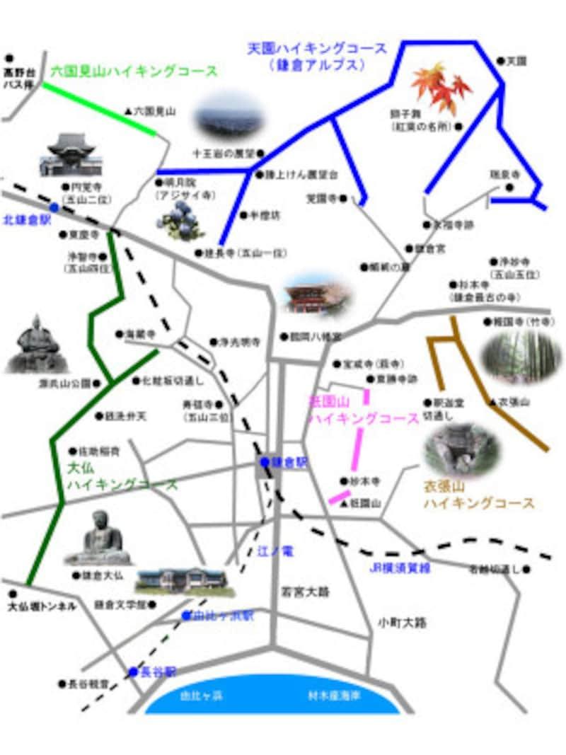 葛原ヶ岡(くずはらがおか)・大仏ハイキングコースは緑色のルート 出典:鎌倉紀行