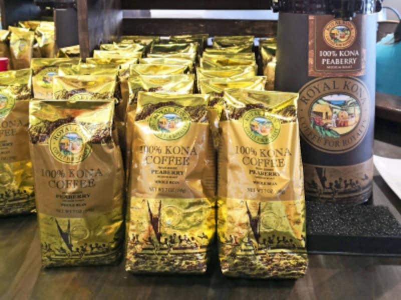 ライオン・コーヒー系「ロイヤル・コナ・コーヒー」ブランドのピーベリー。198グラム入り34ドルほどでリーズナブル。工場併設のショップにて