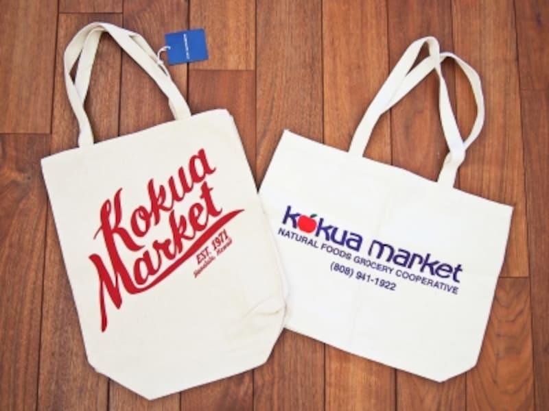 左/赤いロゴがおしゃれな縦型バッグ(12.99ドル)、右/リンゴマークが可愛いトートLサイズ(15.49ドル)