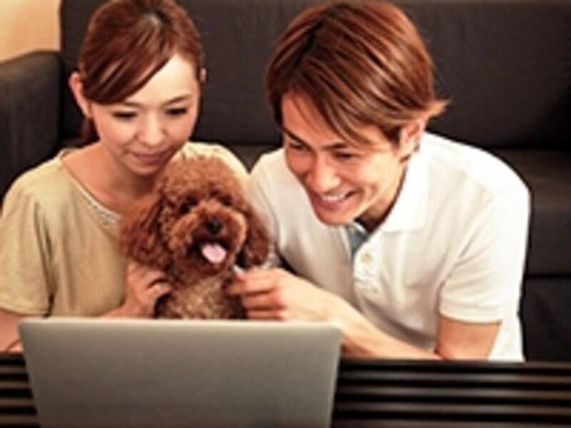 パソコンをのぞき込む夫婦