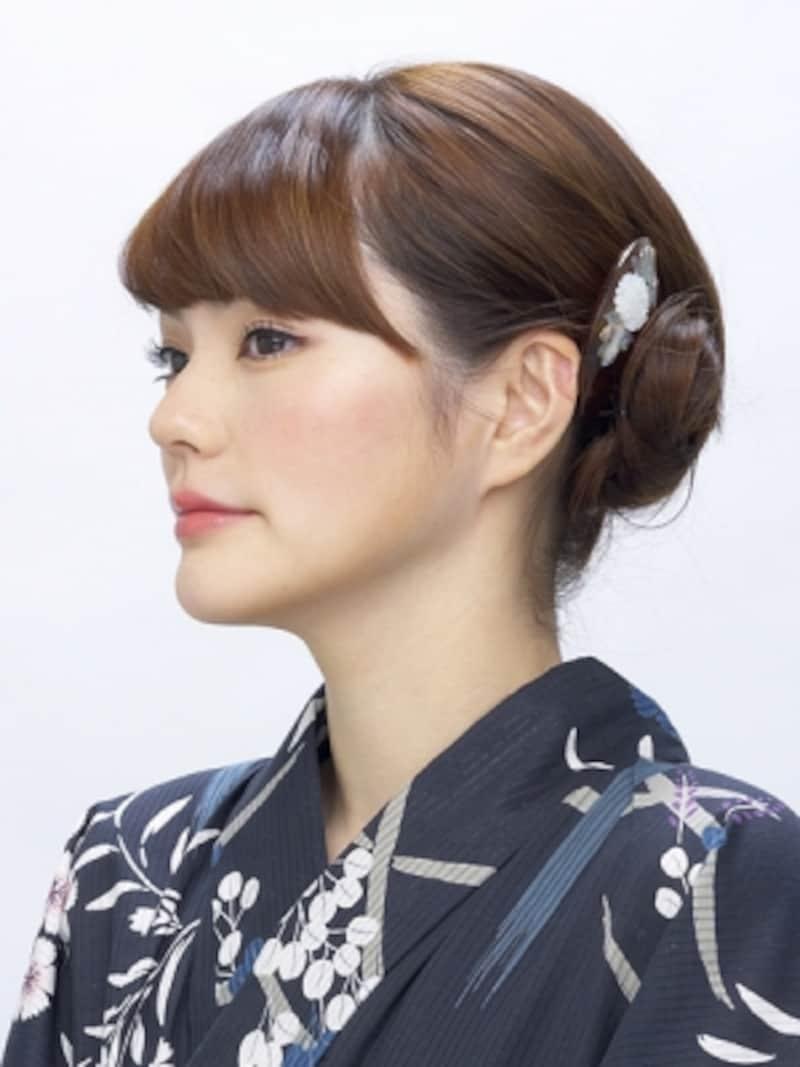 ミディアム浴衣・夜会巻きアップヘアアレンジ