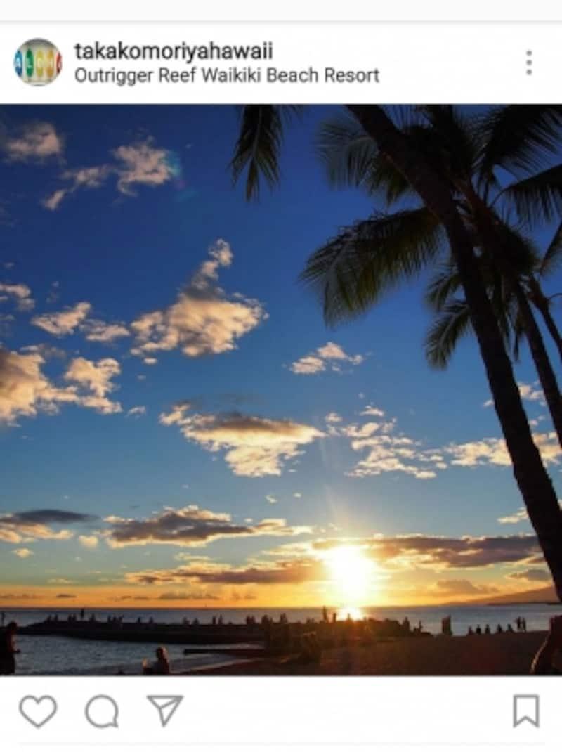 ワイキキビーチのサンセット。ハワイには思わず撮影したくなる風景がいっぱい!