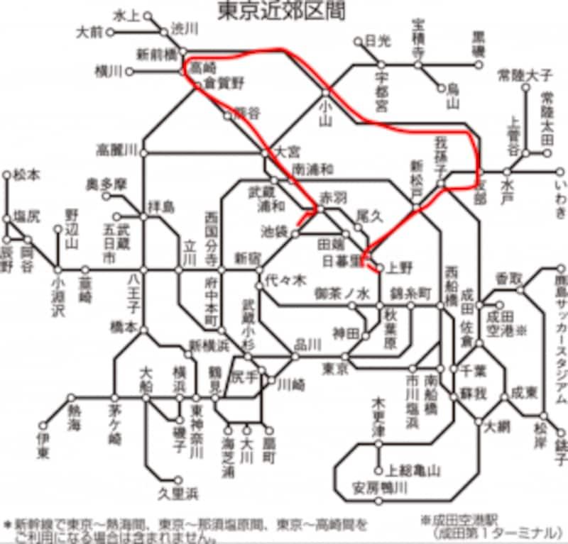 東京都、埼玉県、群馬県、栃木県、千葉県を行く「北関東堪能ルート」