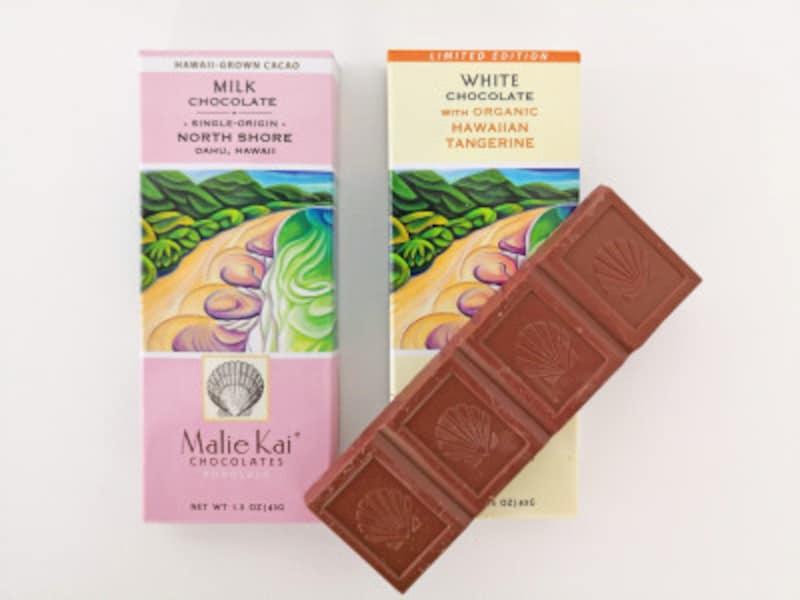 丁寧に作られたマリエカイのチョコレートバーは100%メイドインハワイ。1箱8ドル