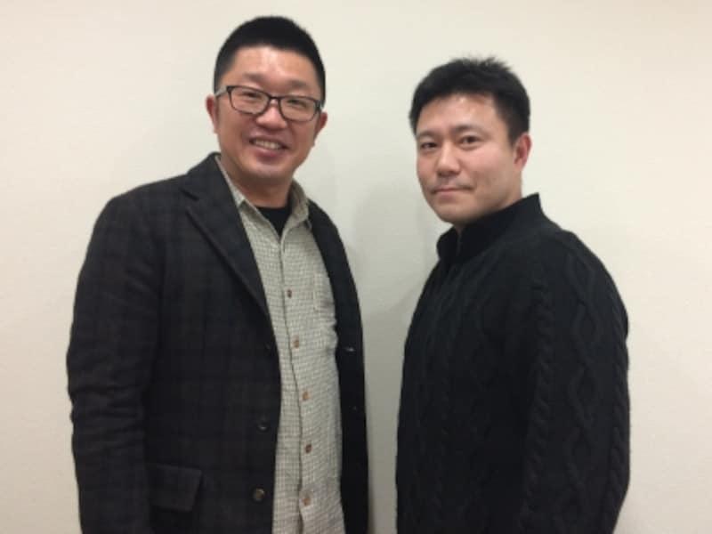 左から、スピリチュアルコンサルタントフクちゃんと、AllAbout恋愛ガイド久野浩二。