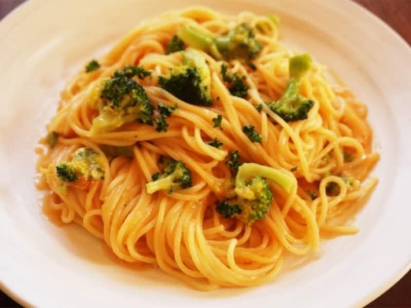 海老のビスクスープで海老のトマトクリームスパゲティ