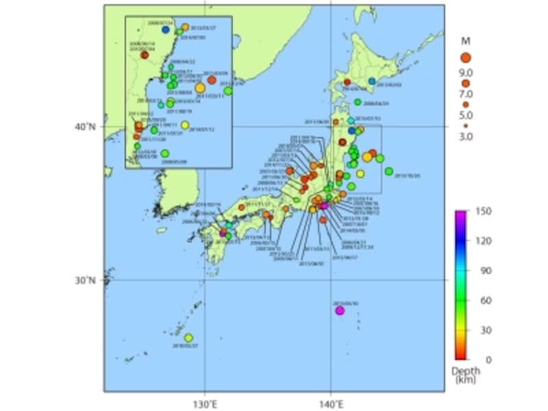 日本付近で発生した主な被害地震の震央分布(平成18年~平成27年)