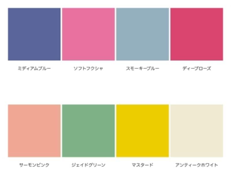 「ノーブル姉系」の配色例。上はサマータイプ、下はオータムタイプ。