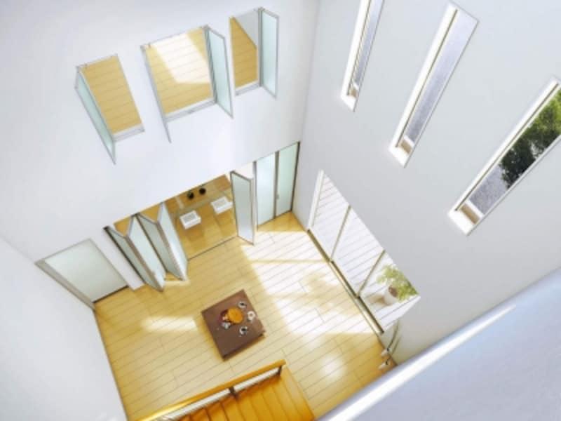 吹き抜けを利用して上下階のつながりを生み出して。すっきりとしたデザインの室内窓はインテリアにも馴染む。[アルミインテリア建材undefinedundefinedスクリーンパーティション採光ユニット開き窓/スクリーンパーティション間仕切4枚折戸]undefinedYKKAPhttp://www.ykkap.co.jp/