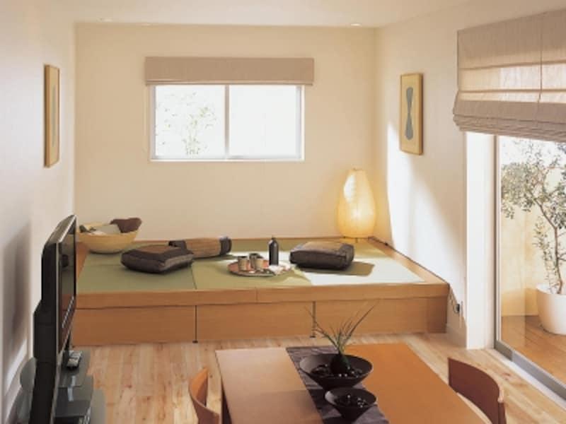 くつろぎのスペースと同時にたっぷりの収納スペースも確保。大容量の収納庫。畳が丘]パナソニックエコソリューションズundefinedhttp://sumai.panasonic.jp/