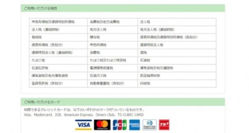 クレジットカード利用が可能な税目とカード会社(出典:国税クレジットカードお支払いサイトより)