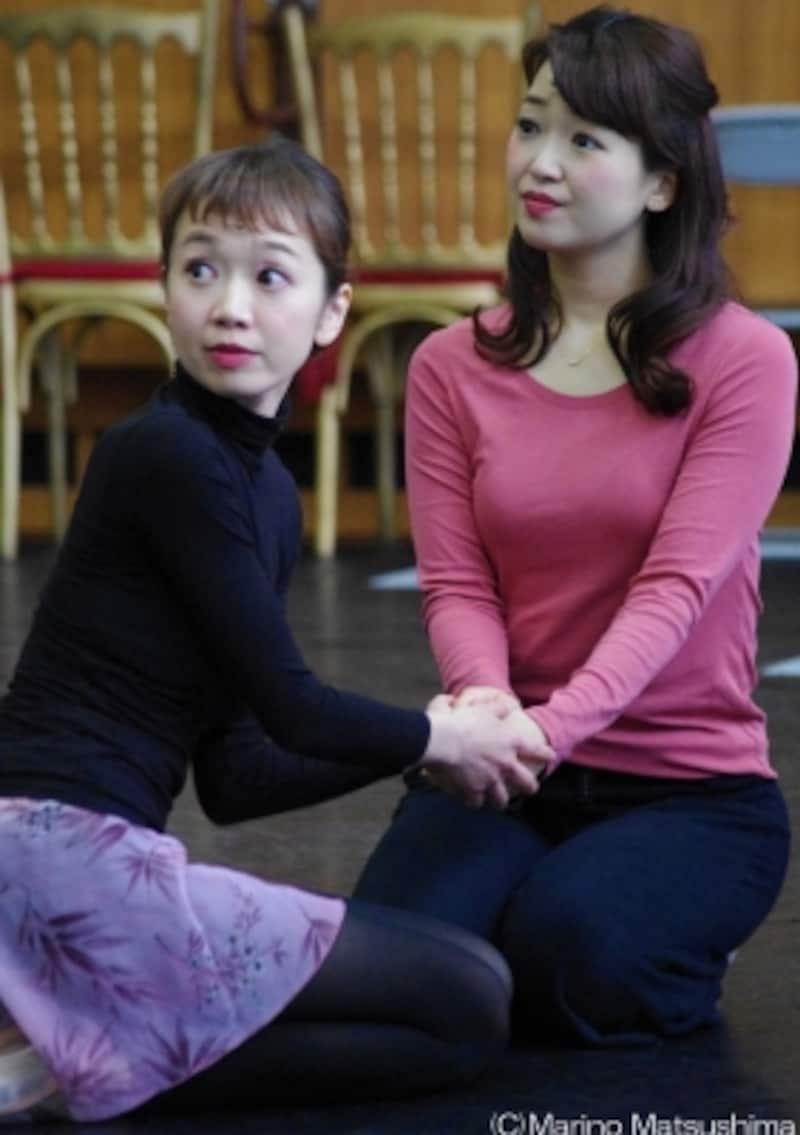 『オペラ座の怪人』稽古より、クリスティーヌとメグ・ジリー(C)MarinoMatsushima