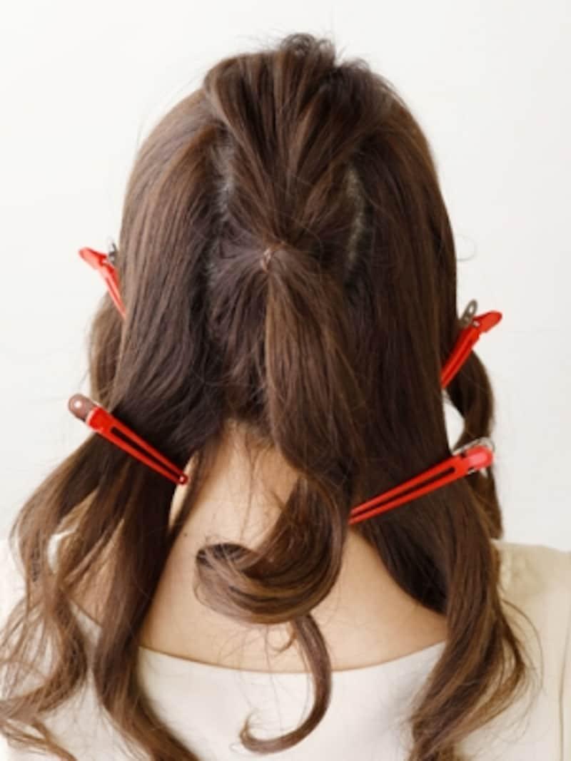 髪全体を縦方向に、5つに分ける