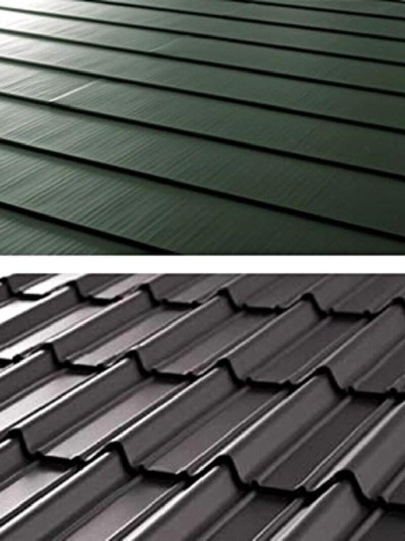 ガルバリウム鋼板製のカバー工法用の屋根材。様々なデザインがある(ニチハ)