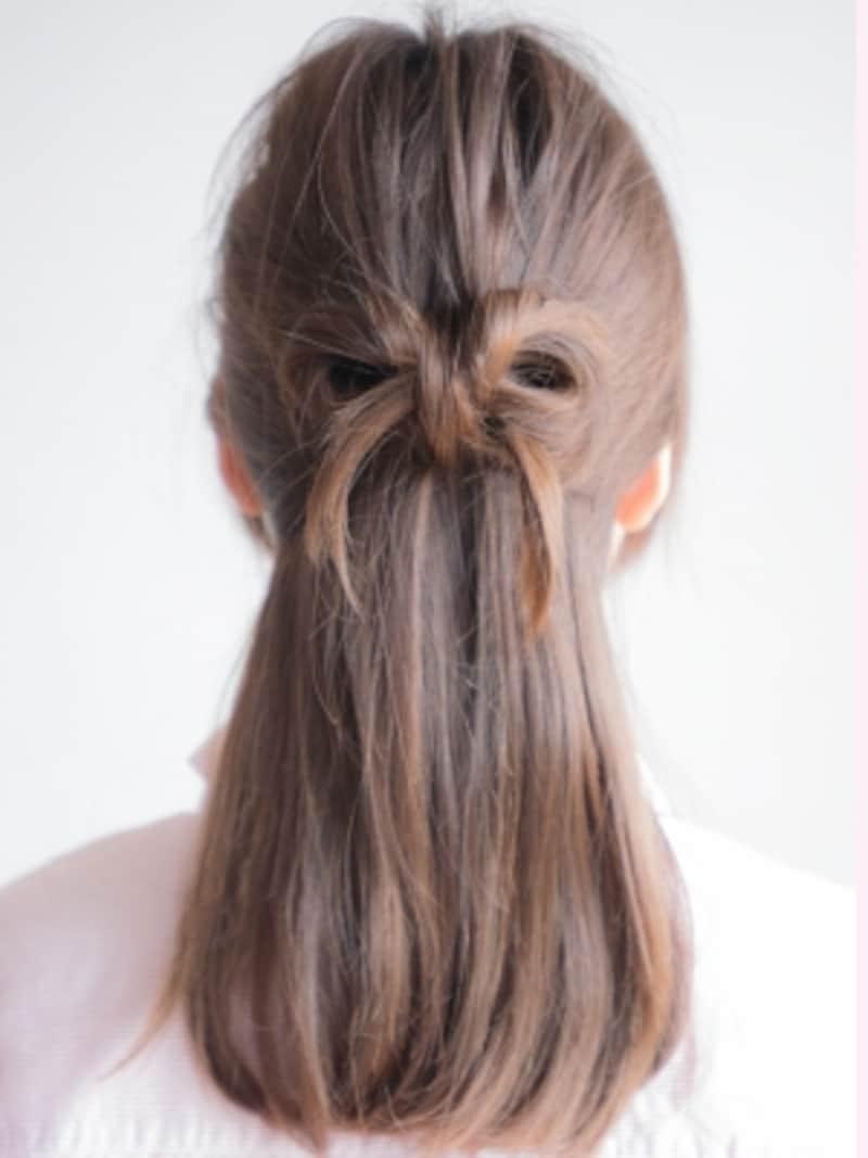 リボンヘアのゴムいらずな作り方!自分の髪でできる簡単ヘアアレンジ