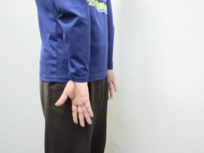 手の甲を完全に太ももの前面へつけるのは難しいので、側面に近い位置でも大丈夫です