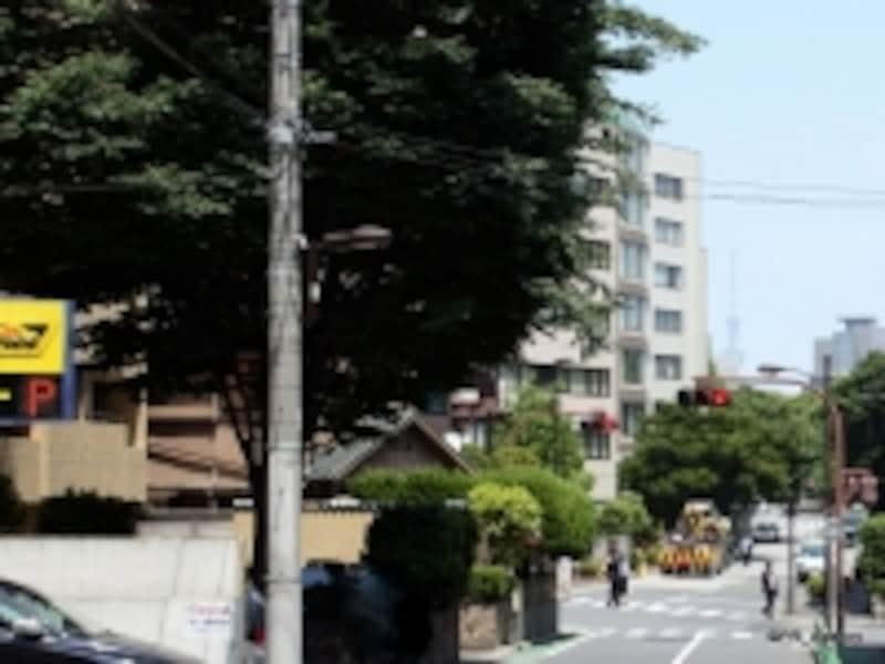 「三番町」の街並みと「スカイツリー」