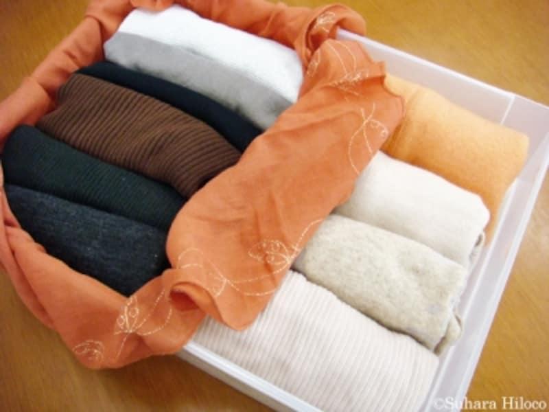 風呂敷でまとめる収納法