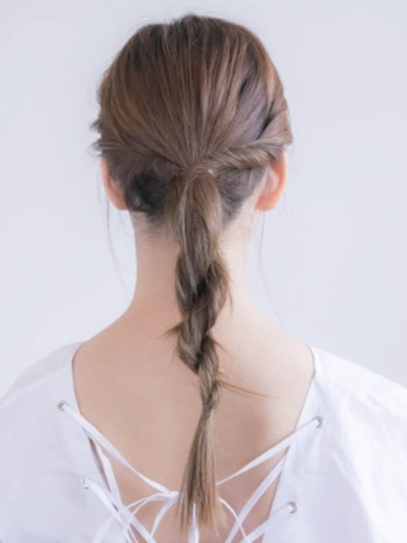 毛先はシリコンゴムで結ぶと目立たなくて良い。