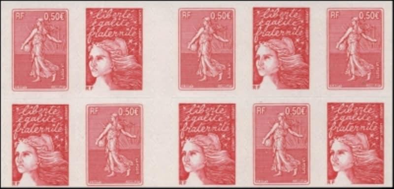 革命記念日のマリアンヌと種まき図案の切手帖