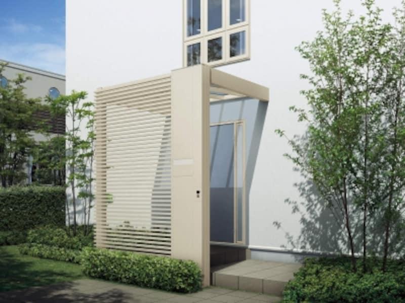 フレームとポスト、壁面材が一体になったシリーズ。オープン外構などで玄関の外から室内のプライバシーを守ることが可能。[リレーリア〔パッケージ〕エントランス用壁面材スクリーン1N型横格子H2]undefinedYKKAPundefinedhttp://www.ykkap.co.jp/
