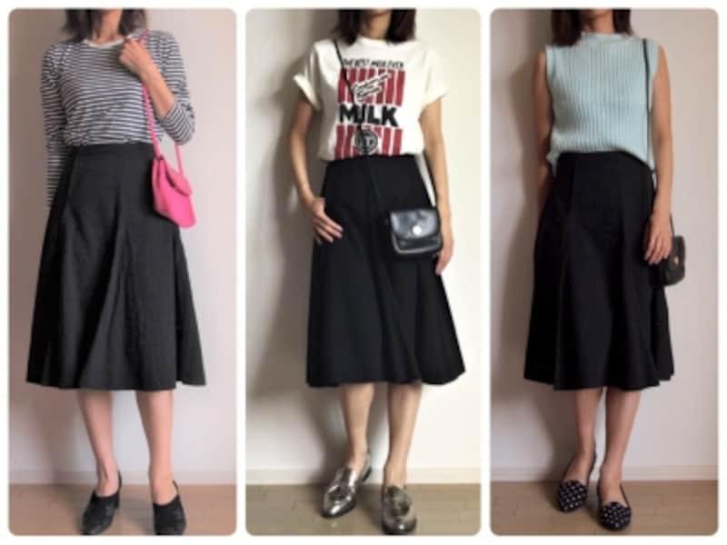 定番ミモレ丈スカートの新しい着こなしを考えるのも楽しい!