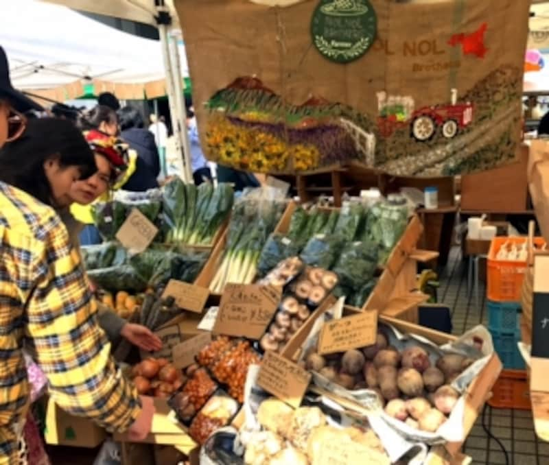 得意野菜は根菜やネギ類のお店。土色を活かした陳列が素敵