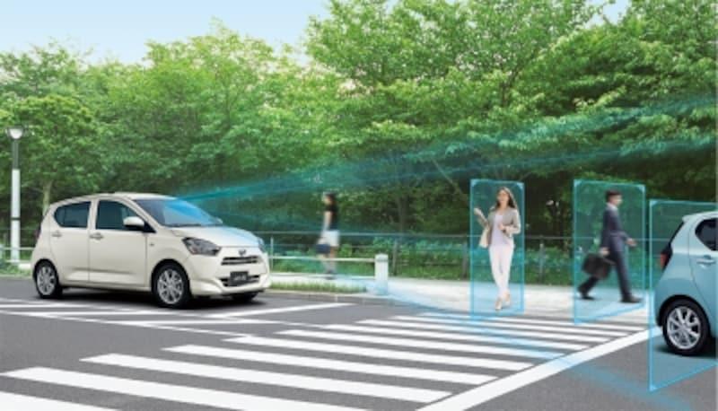 自動ブレーキはステレオカメラを使った本格的なシステムで、歩行者も認識可能だ