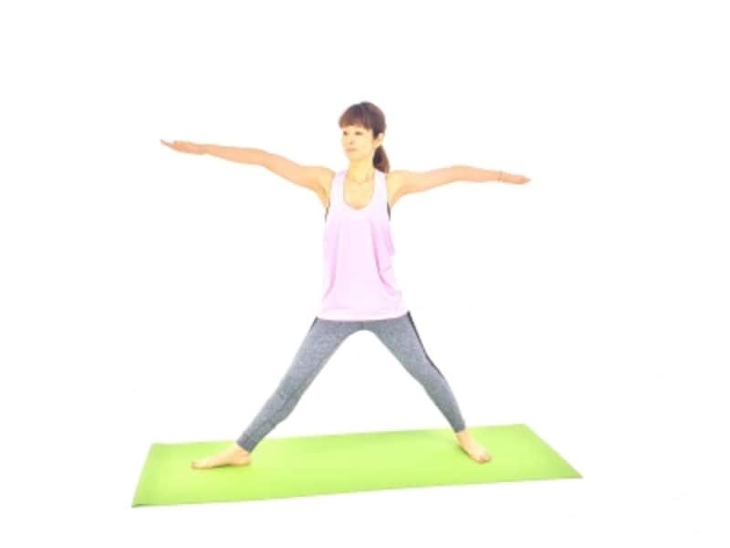 両手を肩の高さに伸ばし、右つま先は正面に向け、左つま先は左側にむけます。