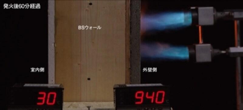 「BSウォール」の耐火実験の様子