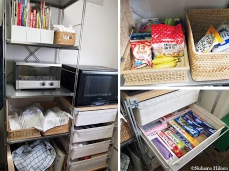 ベビー収納実例に学ぶ:無印良品のキッチン収納ラック