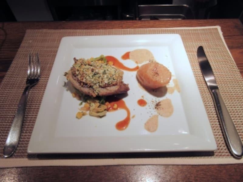 セラヴィーナガノ(CESTLAVIENAGANO)鴨モモ肉のコンフィ粒マスタードの香草パン粉焼き
