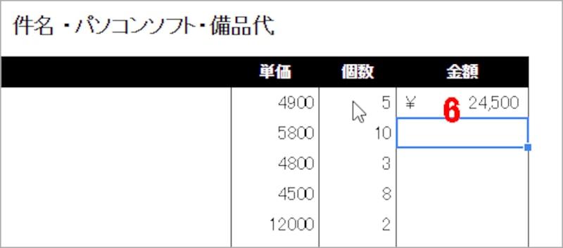 6.[Enter]キーを押すとセルC10の数値とセルD10の数値がかけ算されて、金額が表示されます。