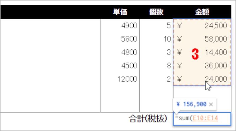 3.セルE10からセルE14までをドラッグして、合計する範囲を選択します。