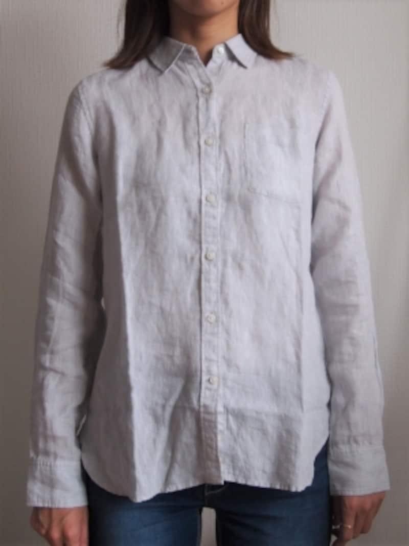 無印良品 良品計画 リネン ボタンダウン シャツ 七分袖 サイズXS ピンク メンズ