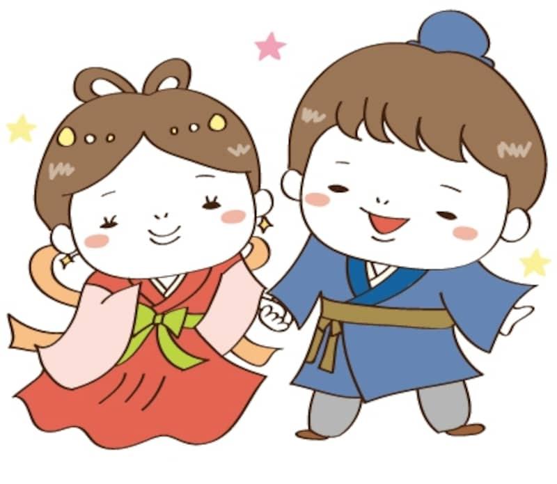 織姫と彦星 七夕 イラスト カラー かわいい