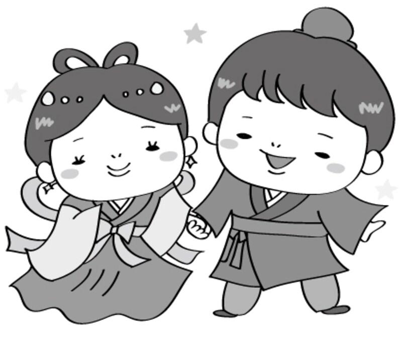 織姫と彦星 七夕 イラスト 白黒 かわいい