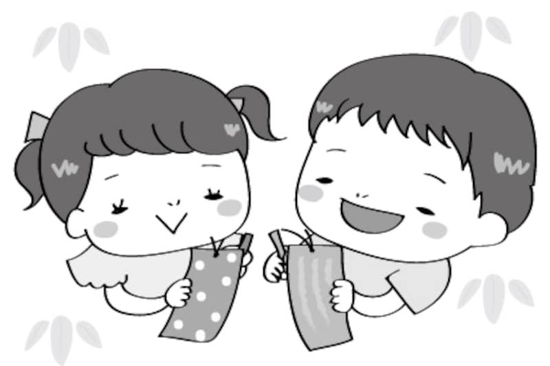 短冊 七夕 イラスト 白黒 かわいい