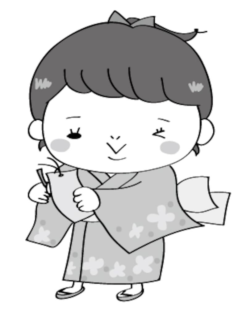 女の子 七夕 イラスト 白黒 かわいい