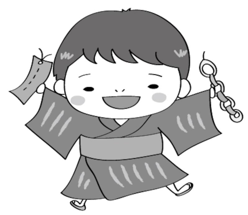 男の子 七夕 イラスト 白黒 かわいい