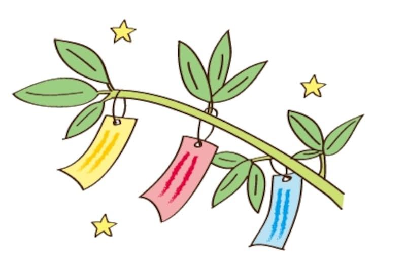 笹と短冊 七夕 イラスト カラー かわいい