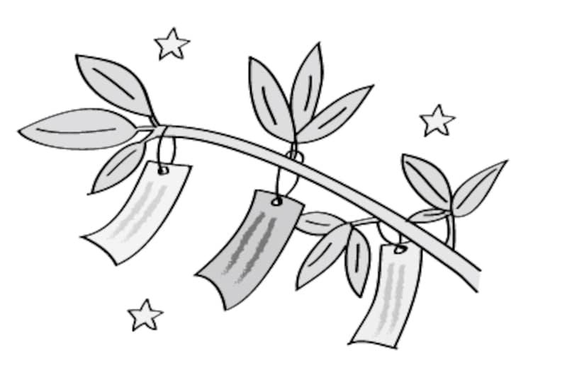 笹と短冊 七夕 イラスト 白黒 かわいい
