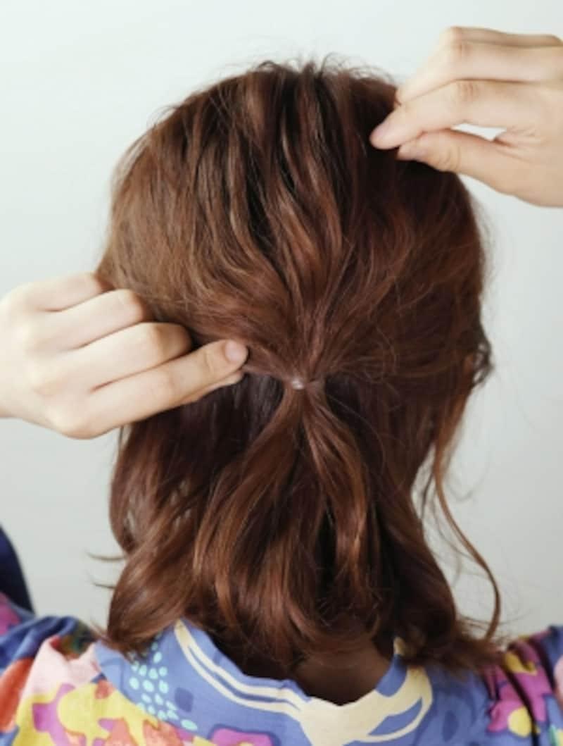 髪を数本ずつ引き出すイメージで