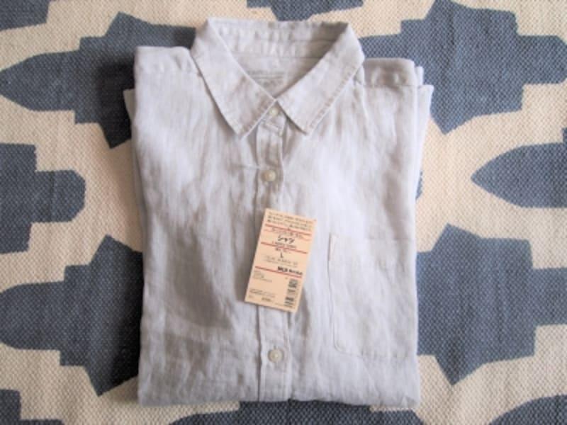 MUJI フレンチリネン洗いざらしシャツ